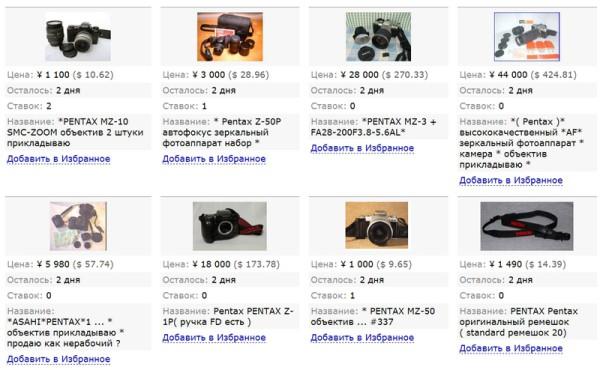 Цены на камеры Pentax аукциона Yahoo! через сервис InJapan