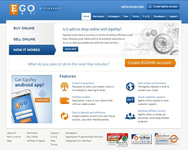 Официальный сайт EgoPay