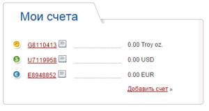 Список счетов в аккаунте Perfect Money
