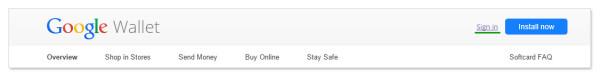 Регистрация в Google Wallet: жмем кнопку Sign In